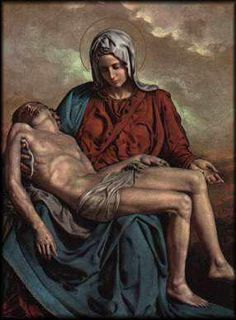 Blessed Mother holding her Son in her arms - Pieta Painting Jesus Mother, Blessed Mother Mary, Blessed Virgin Mary, Catholic Art, Religious Art, La Pieta, Immaculée Conception, Hail Holy Queen, La Salette