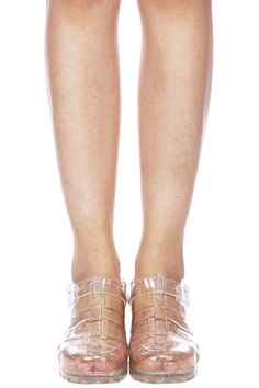 ROMWE   ROMWE Transparent Glitter Hollow-out Buckled Sandals, The Latest Street Fashion