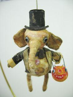 Small Tuxedo Elephant by Spun Cotton Ornament Co. Halloween Ornaments, Holidays Halloween, Holiday Ornaments, Halloween Crafts, Wet Felting, Needle Felting, Vintage Halloween, Vintage Christmas, Elephant Fabric