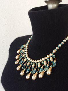 Vintage Miriam Haskell Necklace Glass Bib by GalleryThreeSixty