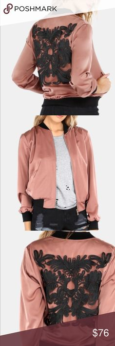 NWT Embroidered Satin Bomber #113 New with Tags Jackets & Coats Utility Jackets