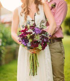 purple rustic bouquet | Photo by Danielle Capito