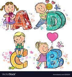 Funny alphabet with kids abcd vector 1303233 - by pinkcoala on VectorStock® Happy Children's Day, Happy Kids, Child Day, Child Love, Children's Day Craft, Children's Day Activities, Beach Kids, Poster Pictures, Cartoon Kids