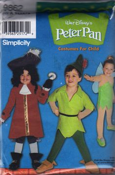 Simplicity 9862 Toddlers Peter Pan Captain Hook  Tinkerbell boys girls sewing pattern costume by mbchills