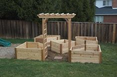 Raised garden bed design in wood or maybe brick