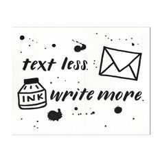 Text Less. Write More.® Ink Splatter - Letterpress Postcard Set of Five Ink Splatter, Letterpress Printing, Personalized Stationery, Black Paper, Letter Writing, Note Cards, Hand Lettering, Cool Art, How To Draw Hands