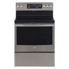 GE 5 element 5 cu ft Electric Range with Self-cleaning Convection Oven Stainless steel Electric Run, Self Cleaning Ovens, Stainless Steel Oven, Glass Cooktop, Oven Racks, Heating Element, Glass Ceramic, Cool Things To Buy, Fan
