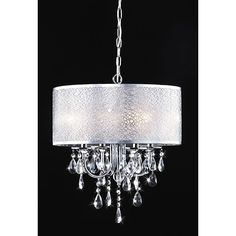 The clear crystal and white shade adds elegance to this lighting fixture and coalesces style with elegance. This indoor 4-light chandelier features a chrome finish.