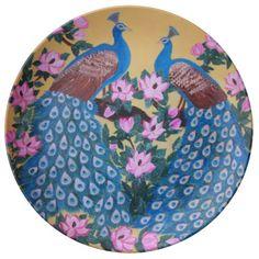 Peacock Peafowl Paon Bird & Magnolias painting