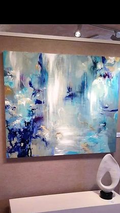 I feel like I'm sitting under a waterfall in this painting!loving the use of colours and texture in this one - calming and natural. Abstract Pictures, Colorful Paintings, Art Paintings, Painting Art, Abstract Wall Art, Acrylic Art, Abstract Expressionism, Painting Inspiration, Diy Art