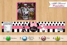 Minnie Mouse In Paris Water Bottle Labels, Minnie Mouse Party Favors, Minnie Mouse Printables - YOU PRINT