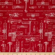 Theory of Aviation Blueprint Red from @fabricdotcom  Designed by Whistler Studios for Windham Fabrics, this cotton print fabric is perfect for quilting, apparel and home decor accents. Colors include red and ivory.