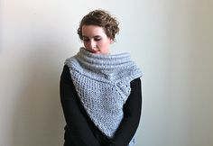 Pattern for a cross-body cowl with an asymmetrical body. Similar to the sweater that Katniss wears.