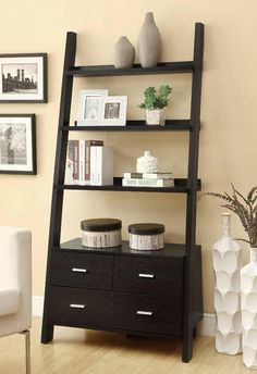 Cappuccino Leaning Ladder Bookshelf With 2 Drawers