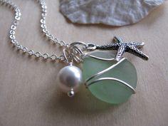 Wedding Jewelry Sea Foam Green Sea Glass Jewelry Starfish Sea Glass Necklaces in Aqua Green, Wedding Jewelry Beach Glass Jewelry