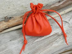 orange is a beautiful color...Handmade Leather Drawstring Pouch Bag Soft by Shirlbcreationstoo, $32.00
