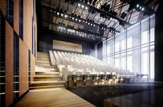 """Competition created with cooperation of """"FORT"""" studio from Gdańsk, Poland. Architecture Visualization, Architecture Drawings, Aquitaine, Hall Interior, Interior Design, Theatre Design, Futuristic Technology, Concert Hall, Skyscraper"""
