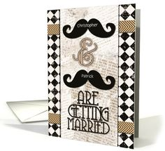 gay wedding announcements custom names vintage mustaches card by betsy bush