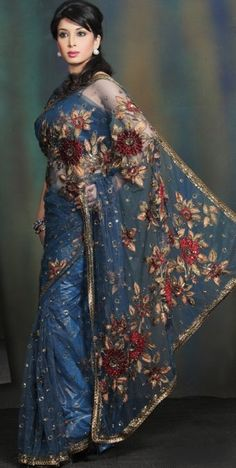 Ornate blue Sari - http://awesomefashion2012.blogspot.com/2012/06/awesome-best-indian-fashion-saree-2012.html