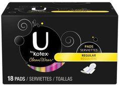 U by Kotex Clean Wear Ultra Thin Regular Pads With Wings 18 ct #UKotex