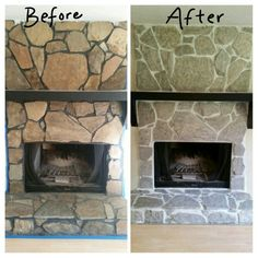 Before and after - fireplace . Grout painted white and stones whitewashed. - Before and after – fireplace . Grout painted white and stones whitewashed. For a more natur - Stone, Stone Fireplace Makeover, Old Stone, Painted Stone Fireplace, Fireplace Decor, Fireplace, Painted Rock Fireplaces