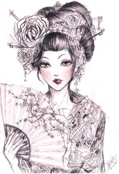 Geisha 2 by Kastile on DeviantArt Geisha Tattoos, Tatoo Geisha, Japanese Geisha Tattoo, Geisha Drawing, Geisha Art, Japanese Art, Japanese Kimono, Geisha Anime, Woman Drawing