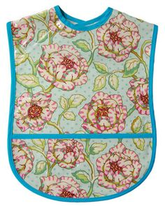 Cabbage Rose Adult Bib - pretty clothing protector.