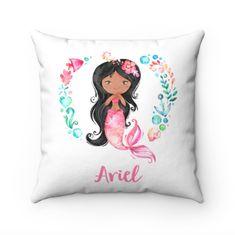 Mermaid Pillow, Dark Skinned Mermaid, Personalized Name Pillow, African American Mermaid, Mermaid Throw Pillow, Mermaid Gifts, Brown Mermaid
