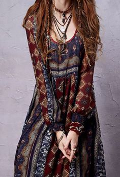 Bohemian Chiffon Dress -  Bohemian Chiffon Dress Sleeve Style: Lantern Sleeve Material: Cotton,PolyDresses Length: Ankle-Length - On Sale for $79.00 (was $98.00)