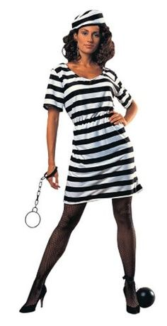 Private Island Party  - Prisoner Woman Adult Costume 4080, $17.99        Prison lady comes complete with hat and dress. Plastic Shackles 1612 not included. Why wait for Halloween - also great for stage, kids parties or one-on-one play time year round!