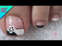 DISEÑO DE UÑAS FLORES SOBRE FRANCÉS BLANCO Y NEGRO - FLOWERS NAIL ART - NLC - YouTube Nail Arts, Pedicure, Tattoos, Beauty, Toenails, Pretty Nails, Work Nails, Sour Cream, Toe Nail Art