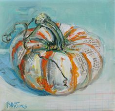 Original mixed media pumpkin painting by Polly by PollyPainting, $60.00- use oblong circles and blend edges w paint