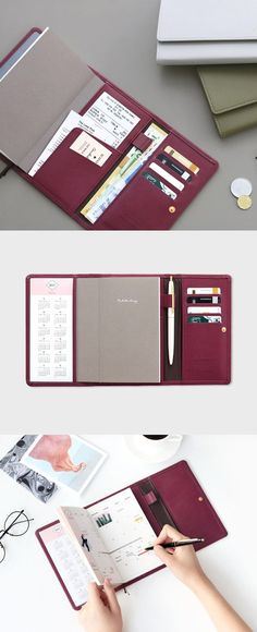 Make life easier with a planner & wallet in one! The Pochette Leather Diary Wallet v3 will hold all your essentials with its pockets, card slots, and pen holder. It holds your boarding passes and tickets while traveling, too! The dateless planner features monthly & weekly pages with world map and notes sections. It's classy and kept secure with a button closure and includes 2 ribbon bookmarks! Plan when & where you want with this beautiful scheduler! Check it out!