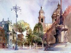 In this articles we will present you the best urban watercolor paintings from some very talented artists. We can use watercolors as a sketch medium or to create an epic watercolor painting, also we can choose between painting technique and drawing te. Famous Watercolor Artists, Watercolor Art Face, Watercolor City, Watercolor Art Paintings, Watercolor Landscape, Your Paintings, Watercolors, Catania, Watercolor Architecture