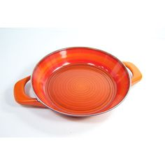 Orange enamel gratin dish or oven dish with 2 handles Silit Made in... (€18) ❤ liked on Polyvore featuring home, kitchen & dining, cookware, enamel cookware, vintage enamel cookware, enamel coated cookware, orange cookware and silit cookware