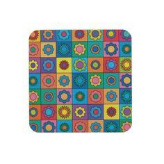 #Hippie #Rainbow #Flower #Pattern #Drink #Coasters $30.35
