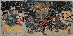 歌川国芳 年不明_源三位頼政鵺退治 Samurai vs. Specter Nue