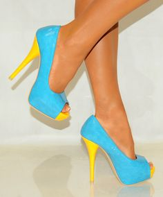 Blue and Yellow High Heels