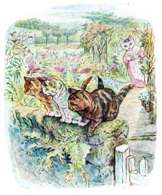 'Then Tabitha Twitchit found her kittens on the wall. From The Tale of Tom Kitten, by Beatrix Potter, 1907