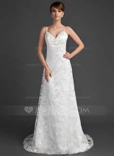 A-Line/Princess Sweetheart Sweep Train Satin Lace Wedding Dress With Beading (002000220) - JJsHouse