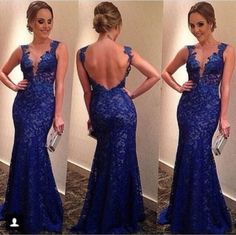 $159--Royal Blue Prom Dresses V-neck Backless Full Lace Sleeveless Floor Length Sexy Evening Gowns from Babyonlinedress.com