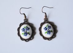 Earrings embroidered floral earrings Cross stitch Jewelry Boho