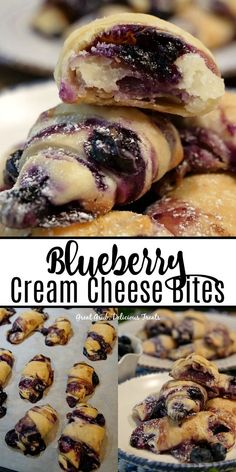 blueberry desserts Blueberry Cream Cheese Bites are stuffed full of blueberries and a cheesecake like mixture. Bite Size Desserts, Easy Desserts, Dessert Recipes, Pastries Recipes, Dessert Simple, Yummy Treats, Yummy Food, Sweet Treats, Cream Cheese Recipes