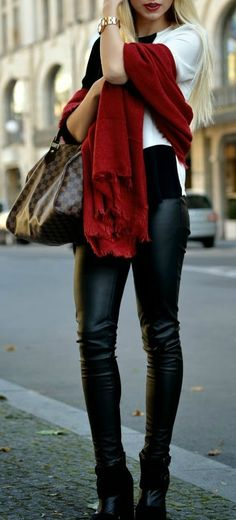 Red For Autumn ~ Love the red scarf<3