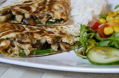 Hähnchen Quesadilla mit Salat, Reis und Dips - Katha-kocht!