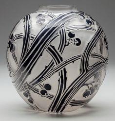 Art Glass:Lalique, R. Lalique Frosted Glass Baies Vase with Black Enamel. Circa1924. Molded R. LALIQUE. M p. 416, No. 894. Ht....