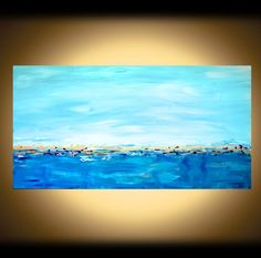 LARGE CANVAS ART Seascape Painting, Tropical Turquoise Blue Ocean, Shabby Chic Abstract Wall Art, Coral Blue Original Modern Art on Etsy, $700.00