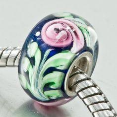 Pink Flower Green Leaf Murano Glass Beads Pandora Chamilia Charm Compatible