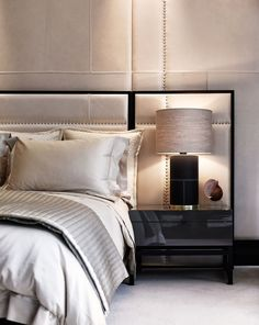 Beautiful Bedrooms and Baths | Padded Wall Treatment and Headboard | fromThe Paper Mulberry