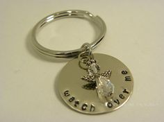 Angel metal stamped key chain  watch over by WhisperingMetalworks, $16.00
